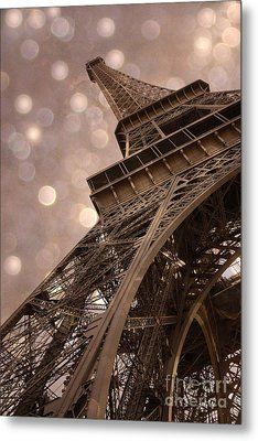 Paris Eiffel Tower Surreal Sepia Bokeh - Romantic Sepia Fantasy Eiffel Tower Photography Metal Print by Kathy Fornal