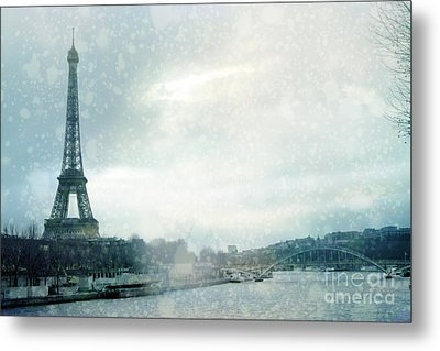 Paris Eiffel Tower Winter Snow - Paris In Winter - Paris Eiffel Tower Winter Fog Landscape Metal Print by Kathy Fornal