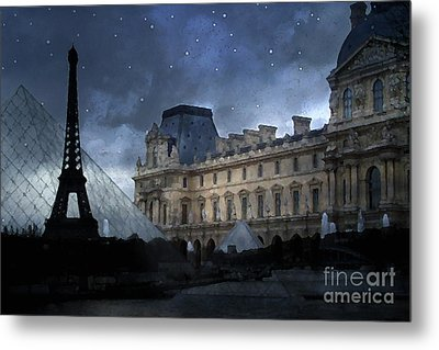 Paris Eiffel Tower With Louvre Museum Montage Photo Painting - Paris Architecture And Landmarks  Metal Print