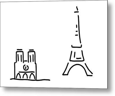 Paris Eiffelturm Notre Dame Metal Print by Lineamentum