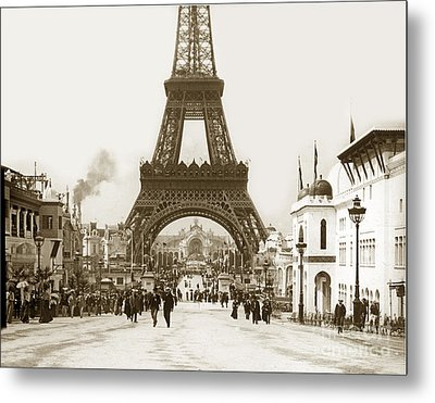 Metal Print featuring the photograph Paris Exposition Eiffel Tower Paris France 1900  Historical Photos by California Views Mr Pat Hathaway Archives