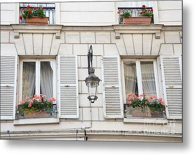 Paris Flower Window Boxes - Paris Windows Architecture - French Floral Window Boxes  Metal Print by Kathy Fornal