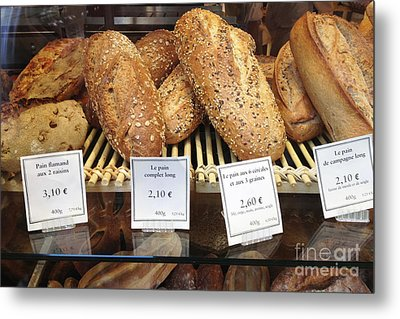 Paris Food Photography - Paris Au Pain Bakery Patisserie - French Bread Metal Print by Kathy Fornal