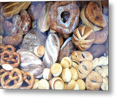 Paris Food Photography - Paris Au Pain - French Breads And Pretzels Metal Print by Kathy Fornal