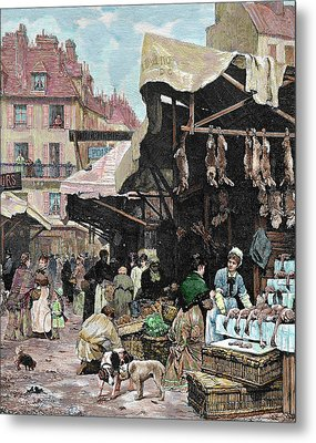 Paris, France Market Colored Engraving Metal Print by Prisma Archivo