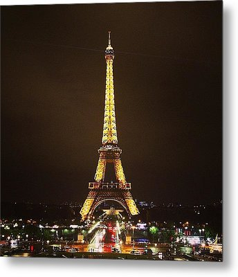 #paris #france #night #lights Metal Print