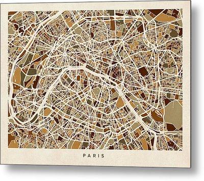 Paris France Street Map Metal Print