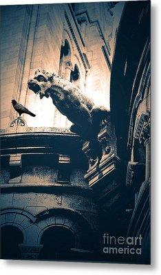 Paris Gargoyles - Gothic Paris Gargoyle With Raven - Sacre Coeur Cathedral - Montmartre Metal Print by Kathy Fornal