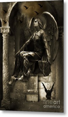 Surreal Paris Gothic Angel Gargoyle Ravens Fantasy Art Metal Print by Kathy Fornal