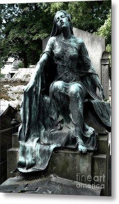Paris Gothic Female Mourner - Montmartre Cemetery Female Sculpture - Mother Looking Over Son Metal Print by Kathy Fornal