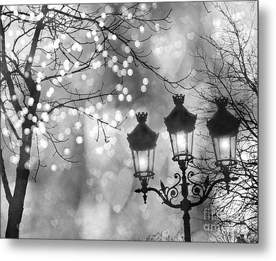 Paris Christmas Sparkle Lights Street Lanterns - Paris Holiday Street Lamps Black And White Lights Metal Print by Kathy Fornal