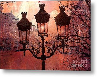 Paris Impressionistic Street Lamps Surreal Black Orange Street Lanterns Architecture Metal Print by Kathy Fornal