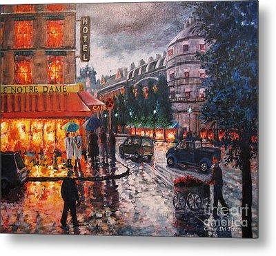 Paris In The Rain Metal Print