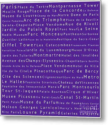Paris In Words Purple Metal Print