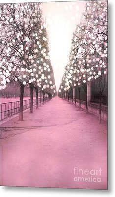 Paris Tuileries Trees Pink Twinkling Fairy Lights Trees- Jardin Des Tuileries Park And Garden Metal Print by Kathy Fornal