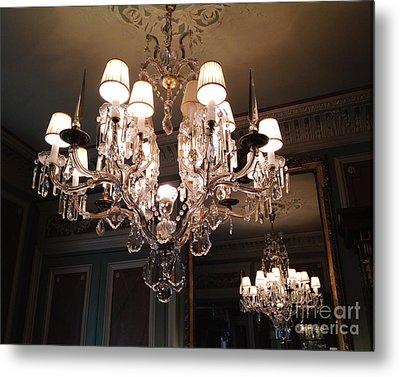 Paris Laduree Dreamy Sparkling Twinkling Chandelier Photo - Paris Crystal Opulent Elegant Chandelier Metal Print