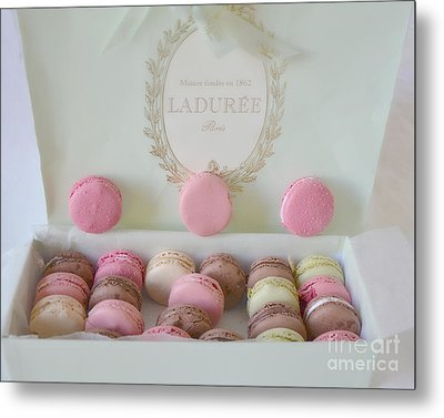 Paris Laduree Pastel Macarons - Paris Laduree Box - Paris Dreamy Pink Macarons - Laduree Macarons Metal Print