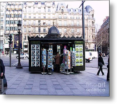 Paris Magazine Kiosk Metal Print by Thomas Marchessault