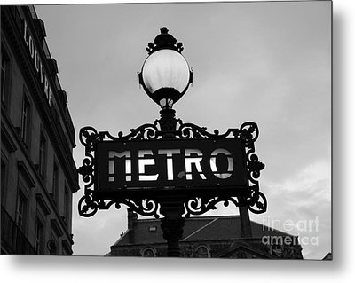 Paris Metro Sign Black And White Art - Ornate Metro Sign At The Louvre - Metro Sign Architecture Metal Print by Kathy Fornal