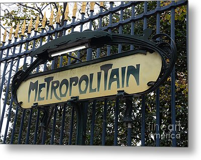 Paris Metropolitain Sign - Paris Metro Art Nouveau Signs - Paris Metro Sign Black And Gold  Metal Print