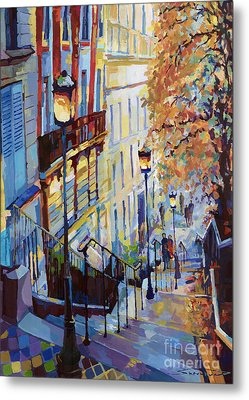Paris Monmartr Steps Metal Print by Yuriy  Shevchuk