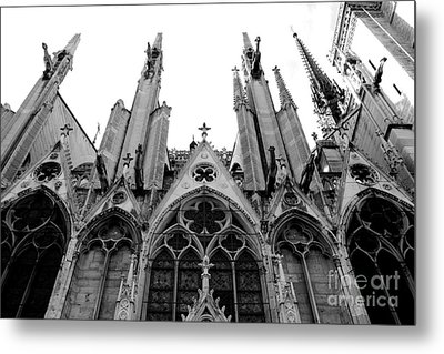 Paris Notre Dame Cathedral Gothic Black And White Gargoyles And Architecture Metal Print by Kathy Fornal
