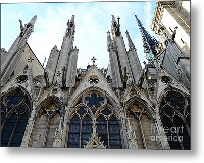 Paris Notre Dame Cathedral - Paris Surreal Gothic Gargoyles Spires - Notre Dame Architecture  Metal Print by Kathy Fornal