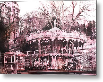 Paris Pink Carousel Merry Go Round- Montmartre District Sacre Coeur Metal Print by Kathy Fornal
