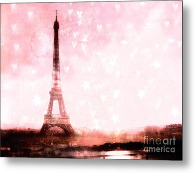Paris Pink Eiffel Tower With Hearts And Stars - Paris Romantic Dreamy Pink Photographs Metal Print by Kathy Fornal