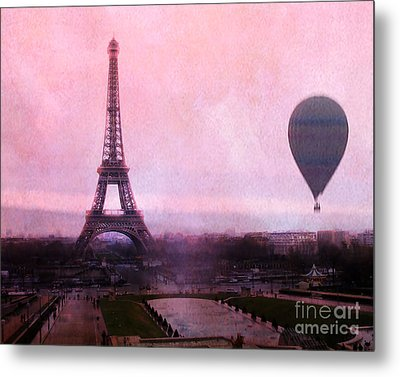 Paris Pink Eiffel Tower With Hot Air Balloon - Paris Eiffel Tower Romantic Pink Art Deco Metal Print by Kathy Fornal