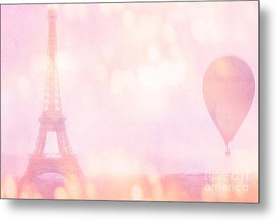 Paris Dreamy Pink Eiffel Tower With Pink Hot Air Balloon - Paris And Balloons Metal Print by Kathy Fornal