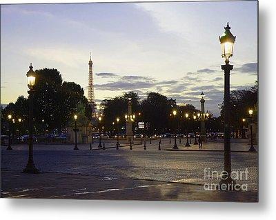 Paris Place De La Concorde Evening Sunset Lights With Eiffel Tower - Paris Night Lights Eiffel Tower Metal Print by Kathy Fornal