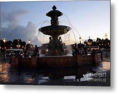 Paris Place De La Concorde Fountain - Paris Dreamy Night Fountain - Place De La Concorde Night Photo Metal Print by Kathy Fornal