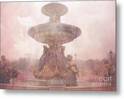 Paris Place De La Concorde Fountain - Paris Dreamy Pink Landmarks - Paris Pink Place De La Concorde  Metal Print by Kathy Fornal