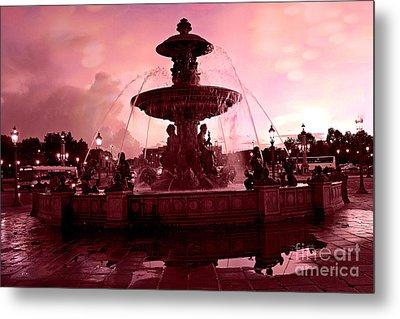 Paris Place De La Concorde Fountain - Paris Dreamy Surreal Pink Night Place De La Concorde  Metal Print by Kathy Fornal