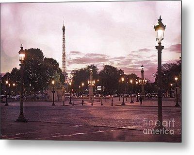 Paris Place De La Concorde Plaza Street Lamps - Romantic Paris Lanterns Eiffel Tower Pink Sunset Metal Print by Kathy Fornal
