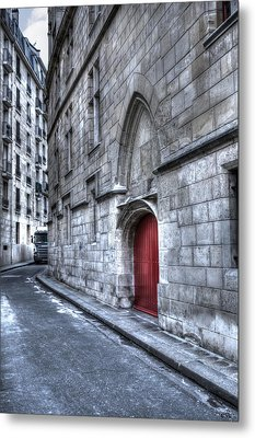 Paris Red Door Metal Print by Evie Carrier