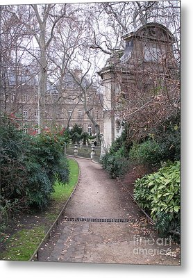 Paris Romantic Parks - Luxembourg Gardens - Medici Fountain Park - Pathway To Luxembourg Gardens Metal Print by Kathy Fornal
