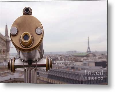 Paris Rooftops - Parisian Rooftop View Of Eiffel Tower - Paris In Winter Rooftop Photography Metal Print by Kathy Fornal