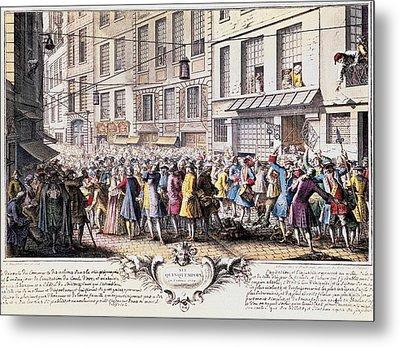 Paris. Rue Quinquempoix, 1720. Scene Metal Print by Everett