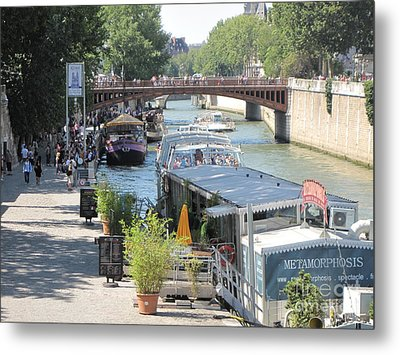 Metal Print featuring the photograph Paris - Seine Scene by HEVi FineArt