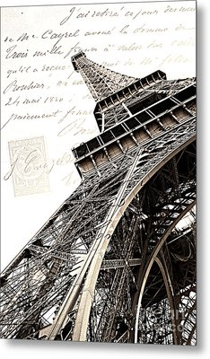 Paris Sepia Vintage Eiffel Tower With French Script Lettering - Letters From Paris  Metal Print by Kathy Fornal