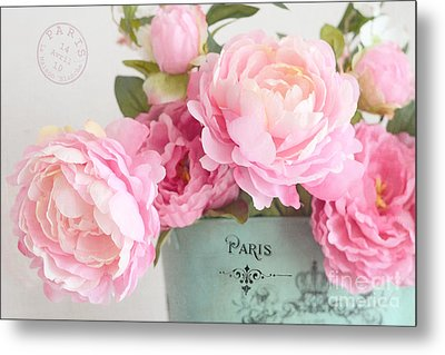 Paris Peonies Shabby Chic Dreamy Pink Peonies Romantic Cottage Chic Paris Peonies Floral Art Metal Print by Kathy Fornal