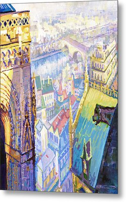 Paris Shadow Notre Dame De Paris Metal Print by Yuriy  Shevchuk