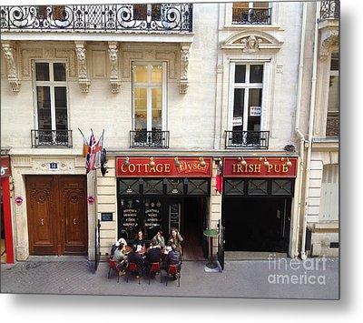 Paris Sidewalk Cafes Cottage Elysees Irish Pub - Paris Pubs Sidewalk Cafes Red Architecture Art Deco Metal Print