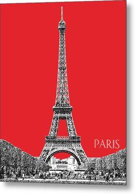 Paris Skyline Eiffel Tower - Red Metal Print