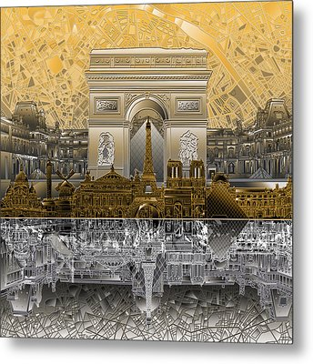 Paris Skyline Landmarks 5 Metal Print