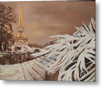 Metal Print featuring the painting Paris Sous La Neige by Julie Todd-Cundiff