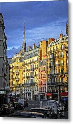Paris Street At Sunset Metal Print by Elena Elisseeva