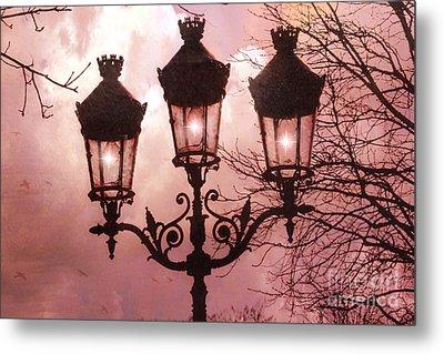 Paris Street Lanterns - Paris Romantic Dreamy Surreal Pink Paris Street Lamps  Metal Print by Kathy Fornal